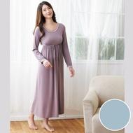 華歌爾 天絲棉針織 M-L 長袖圓領裙裝(藍)-睡眠研究所-家居服-舒適保暖-內襯罩杯