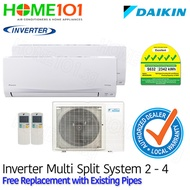 Daikin Smile Series Multi-Split AirCon Inverter 5 Ticks SYSTEM 2 - 4 with FREE Replacement