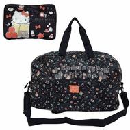 〔小禮堂〕Hello Kitty 折疊尼龍拉桿行李袋《黑橘.紙袋》旅行袋.肩背袋