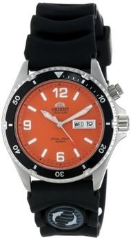 Orient Mens CEM65004M Orange Mako Automatic Rubber Strap Dive Watch