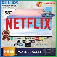 PHILIPS 58PUT6604 58 INCH 4K UHD DVB-T2 NETFLIX YOUTUBE LED SMART TV DTTV IDTV MYTV MYFREEVIEW SUPPORTED DOLBY VISION SUPPORT (FREE WALL MOUNT) (KL & SEL OWN DELIVERY)