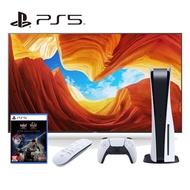 【SONY 索尼】PS5 光碟版主機+《PS5 仁王》+《PS5 媒體遙控器》+55型顯示器(KM-55X9000H)