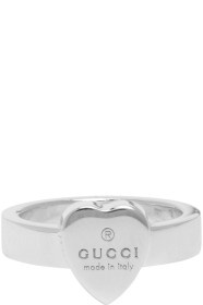 GUCCI银色 Trademark Heart 戒指