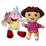 【卡漫屋】 Dora & Boots 玩偶 二入組 22公分 絨毛 娃娃 布偶 朵拉 小猴子 女孩 卡通 愛探險 好朋友