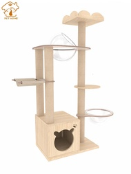 Space Capsule Climbing Solid Cute Wood Tower Rack Cat Tree House Integrated Villa Platform Toy