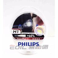 【易油網】PHILIPS VisionPlus H1 H4 H7 加亮型+60% 燈泡 大燈 OSRAM