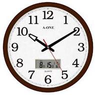【山姆大叔工作坊】A-ONE時鐘 15吋大時鐘 經典標準型LCD雙顯 核木紋邊框 TG-0228