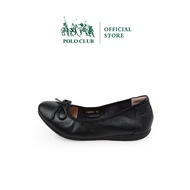 POLO CLUB รุ่น P1745 รองเท้าบัลเล่ต์ รองเท้าคัชชูหนังแท้ ส้นแบน สีดำ