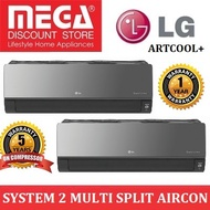 LG ARTCOOL+ SYSTEM 2 INVERTER MULTI-SPLIT AIRCON WITH WIFI BUILT-IN (4 TICKS)  / MADE IN KOREA