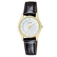Citizen Er 0183 - 05 A Quartz Watch Female Watch Leather Strap