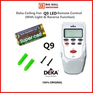 Original Deka Ceiling Fan 4 Speeds Remote Control Q9 With Light & Reverse Function *Free 2pcs AAA Batteries & Holder Product from Malaysia