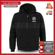 Zip Hoodie Logo Yamaha Embroidery MotoGP Motorcycle Motosikal Superbike Racing Team Bike Casual Streetwear 125Z LC RXZ