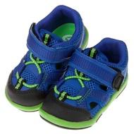 【布布童鞋】Moonstar日本藍色透氣寶寶機能護趾涼鞋(I8E825B)