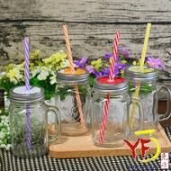 ★堯峰陶瓷★梅森瓶 梅森杯  水果玻璃罐 玻璃杯 方杯 蓋杯 水杯 附吸管 贈禮 營業餐廳 現貨