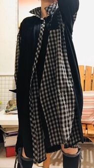 日系 棉麻 黑接格 大尺麻 長版 襯衫洋裝 *現貨+預購*