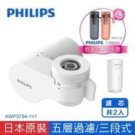 【Philips 飛利浦】超濾龍頭型4重plus 5層過濾 3段式 日本原裝淨水器 -濾芯共2入(AWP3754-1+1)