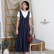 【GEORGIA TSAO】Print V領吊帶裙-Carousel旋轉木馬(深藍X黑)