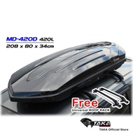 TAKA MD-420D Car Roof Box [Explorer Series] [XL Size] [Glossy Black] [FREE Universal Roof Rack] Cargo ROOFBOX