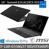 MSI 微星【贈藍牙耳機】Summit E14 A11SCS-031TW 14吋4K商務筆電(i7-1185 G7/16G/1TB SSD/GTX1650 Ti-4G)