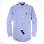 美國百分百【Ralph Lauren】長袖 襯衫 RL 男 條紋 小馬 藍白線 藍色 上衣 polo 休閒 M E887