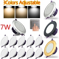 5/10PCS Three color dimmable Led downlight light Ceiling Spot Light 7w ceiling recessed Lights