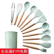 木柄硅膠廚具 不粘鍋矽膠廚具套裝廚房用具 鍋鏟 耐高溫湯勺  麵撈 打蛋器 廚房工具 湯杓 烘焙 料理用具