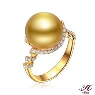 【禾美珠寶】天然南洋金珠鑽戒FF205(18K金)