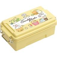 〔小禮堂〕角落生物 日製方形雙扣便當盒《黃.漢堡》500ml.保鮮盒.食物盒.餐盒