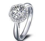 ~*瑾瑋莫桑鑽石流行時尚珠寶精品館*~{捧花系列二}莫桑鑽石1克拉 鑽石.14K金(585)經典款女戒指