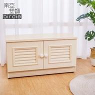 【南亞塑鋼】2.7尺二門塑鋼坐式百葉鞋櫃/穿鞋椅(白橡色)