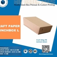 Stock Lots Of Kraft Paper Lunch Box - Large Contents 100pc Eco-Friendly Food Grade