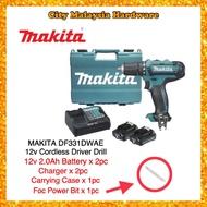 100% Original Japan Makita DF331DWAE 12V 10mm Cordless Driver Drill (1 CHARGER + 2 PCS 2.0AH BATTERY)