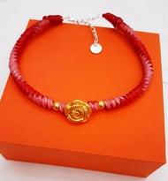 高貴美麗的【👑純黃金玫瑰花】蠟線手鍊 (附銀樓保證卡,禮盒+提袋)