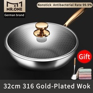 Sushar 32cm 34cm Gold Plate 316 Stainless Steel Non-Stick PFOA Free Frying Pan Fry Pan Cook Pan Wok With Lid And Steamer Shovel And Rag Suitable For All Stoves kitchen Ware kitchen Utensils