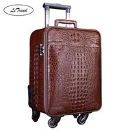 100% จระเข้กระเป๋าเดินทางแบบลาก Spinner จระเข้เกรดดีเยี่ยมหรูหราหนังสัตว์แท้รถเข็น18นิ้วกระเป๋าเดินทางล้อ