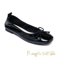 【Pineapple Outfitter】FEDORA 真皮蝴蝶結圓頭平底娃娃鞋(鏡黑)