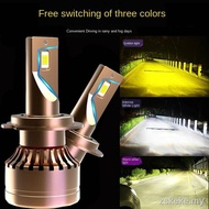 LED car headlights❀◇❅Philips tri-color car LED headlights super bright laser H1H7H4h119005 high beam and low