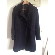U're 全新深藍色100%羊毛大衣