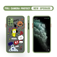 Camera Lens Protective Phone Case For Samsung Galaxy A42 A12 5G A01 A11 A21S A31 A51 A71 A02S BT21 BTS Cartoon Matte Scrub PC Hard Cover Anti-Scrach Shockproof Casing