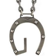 GUCCI G LOGO鉚釘925純銀項鍊
