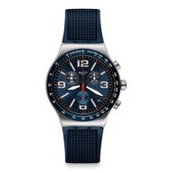 【SWATCH】金屬系列手錶 BLUE GRID 藍色秩序(43mm)