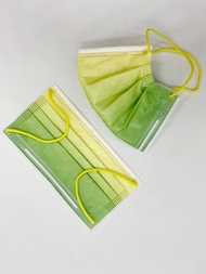 【久富餘】 成人醫療口罩50片/盒(黃綠雙色漸層對耳) 043181