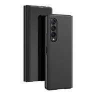 Smart Flip Cover for Samsung Galaxy Z Fold 3 2 5G Mirror Bracket Plating PU Leather Case Shockproof Phone for Z Fold 3 Case