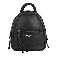 COACH 荔枝皮革前拉鍊口袋小型斜背後背兩用包(黑色)