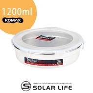 【索樂生活】韓國KOMAX Stenkips圓型不鏽鋼保鮮盒1200ml白色(野餐環保不銹鋼醃食物密封罐樂扣蓋便當盒)