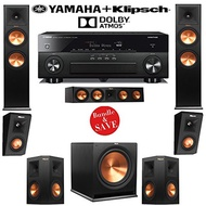 Klipsch RP-280FA 5.1.2 Dolby Atmos Home Theater Speaker System with Yamaha RX-A860BL 7.2-Ch A/V R...