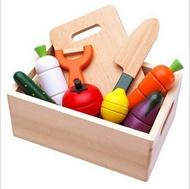 【晴晴百寶盒】木製磁吸蔬菜水果切切樂 木箱 家家酒玩具 親子早教 知育玩具 益智遊戲玩具 平價促銷 禮物禮品 A187