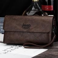 dompet lelaki ☼2019 beg lelaki JEEP Jeep seri beg tangan gaya perniagaan beg klac lelaki kapasiti besar kombinasi kunci dompet panjang❃