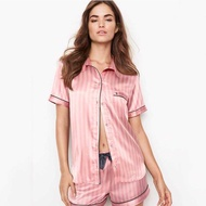 Summer Pajamas for Women Satin Silk Striped Sleepwear 2 Pieces Set Sleep Tops Pants Pjs Ladies Night