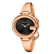 Gucci 古吉YA134305玫瑰金經典G型手環時尚腕錶/黑面36mm